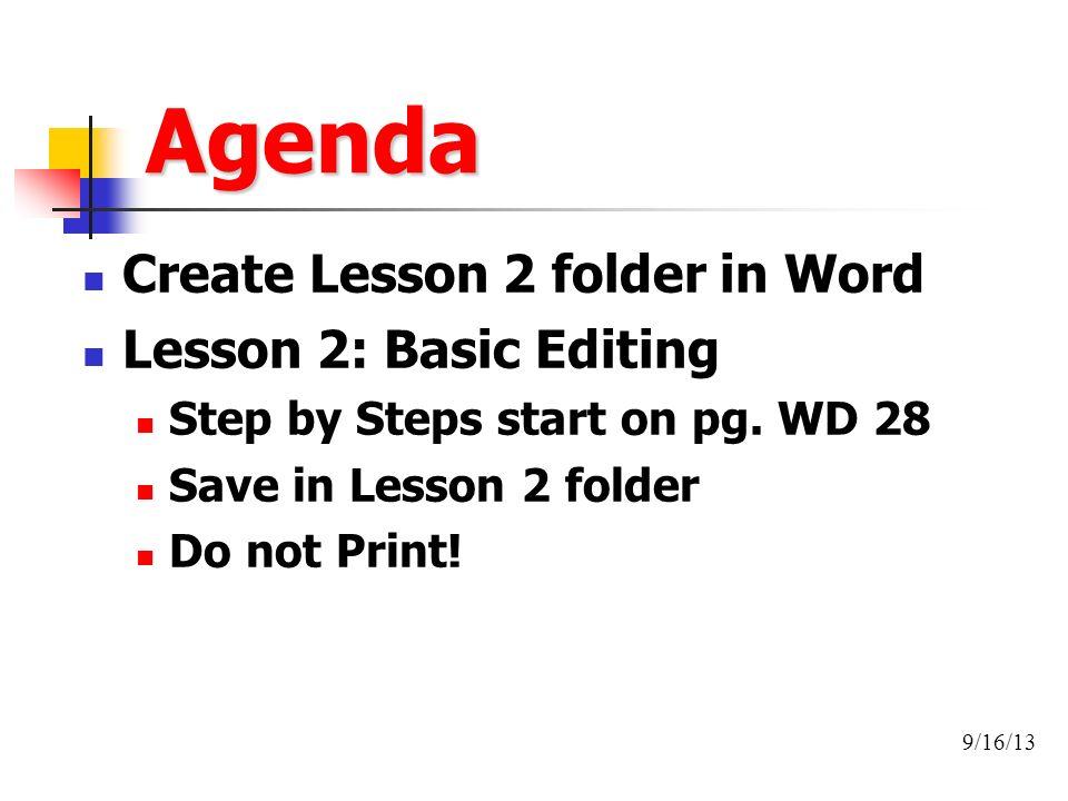 Agenda Create Lesson 2 Folder In Word Basic Editing Step By Steps Start