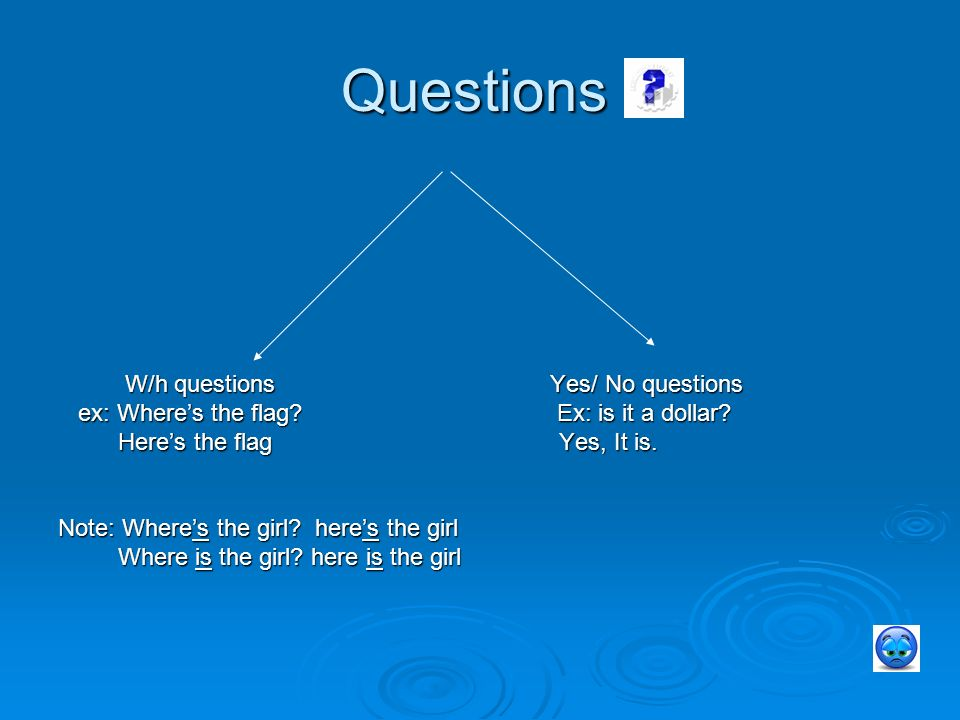 Questions W/h questions Yes/ No questions W/h questions Yes/ No questions ex: Where's the flag.
