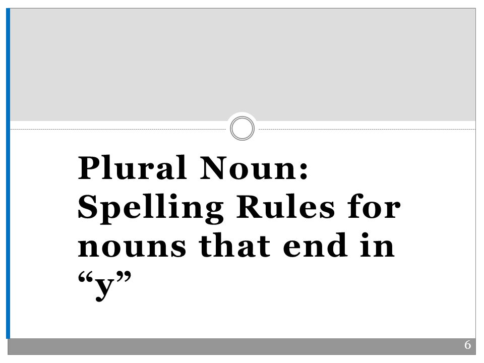 Plural Noun: Spelling Rules for nouns that end in y 6