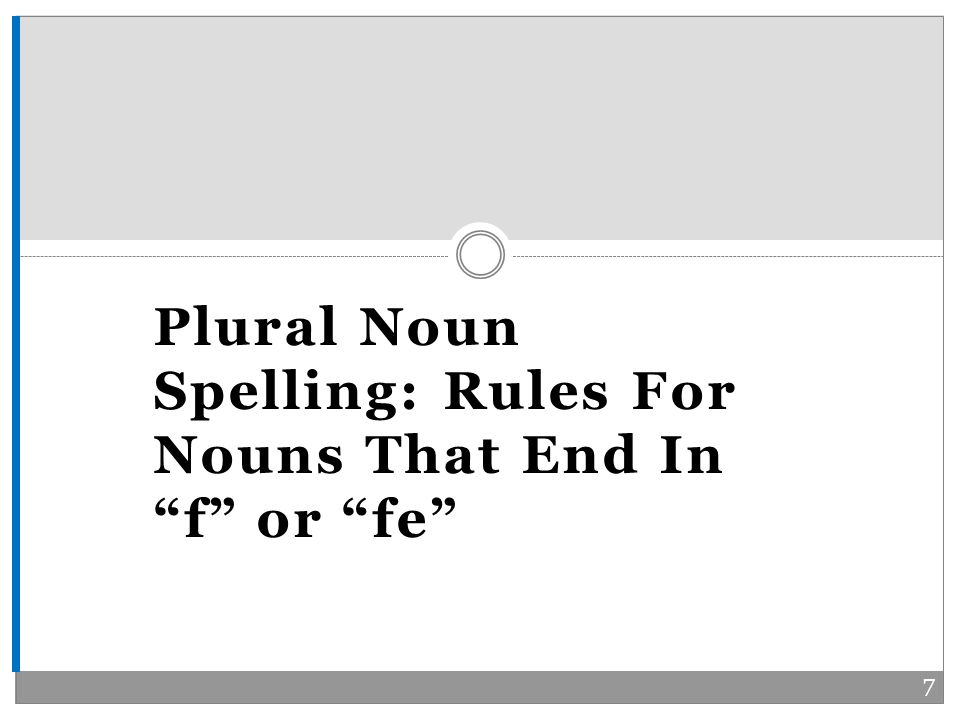 Plural Noun Spelling: Rules For Nouns That End In f or fe 7
