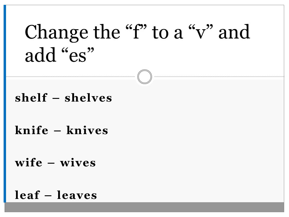 shelf – shelves knife – knives wife – wives leaf – leaves Change the f to a v and add es