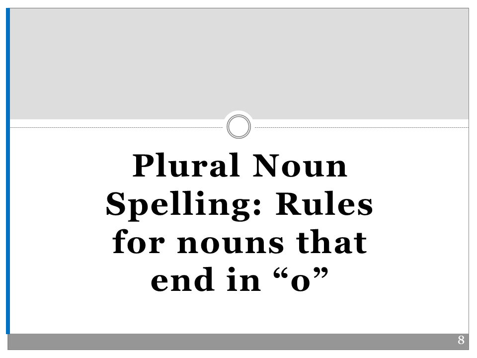 Plural Noun Spelling: Rules for nouns that end in o 8