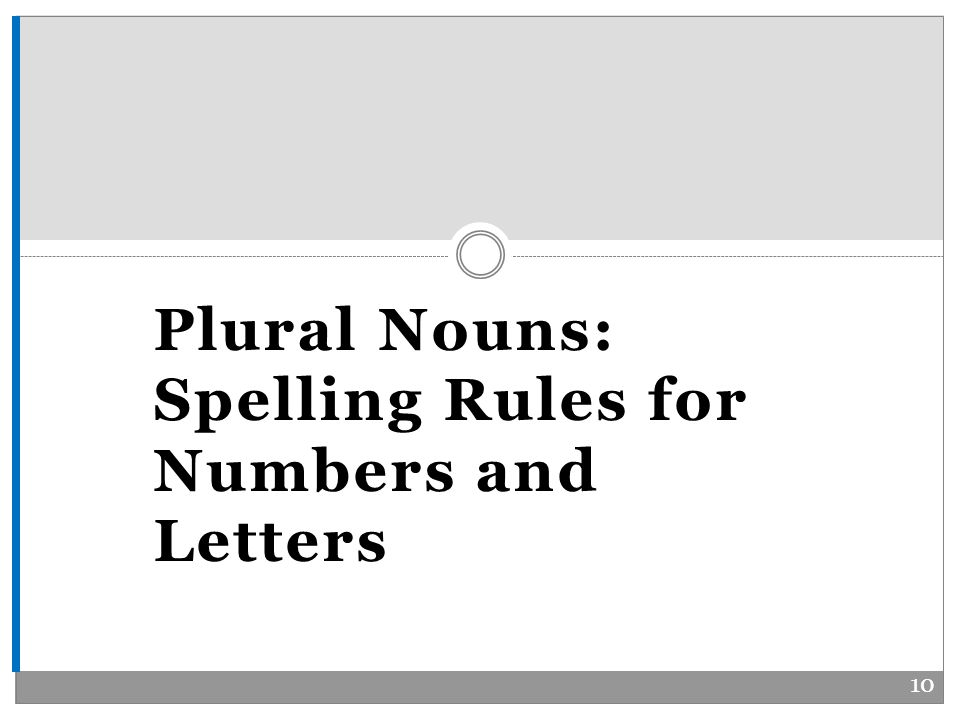 Plural Nouns: Spelling Rules for Numbers and Letters 10