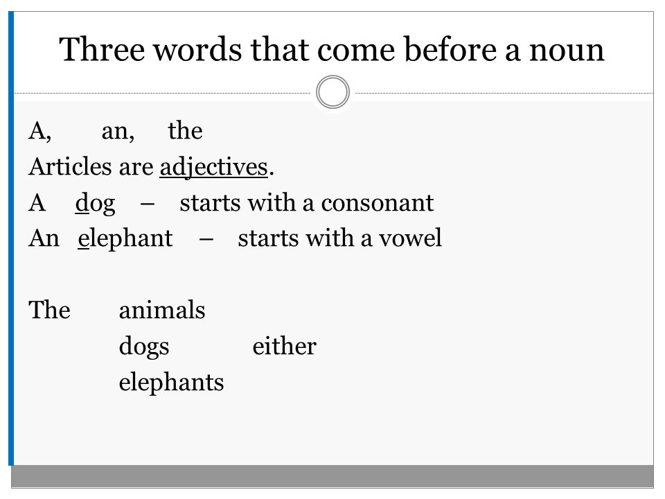 Three words that come before a noun A, an, the Articles are adjectives.