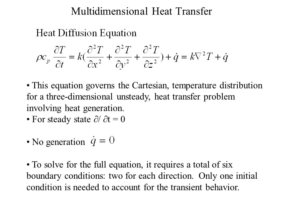 Multidimensional Heat Transfer This equation governs the