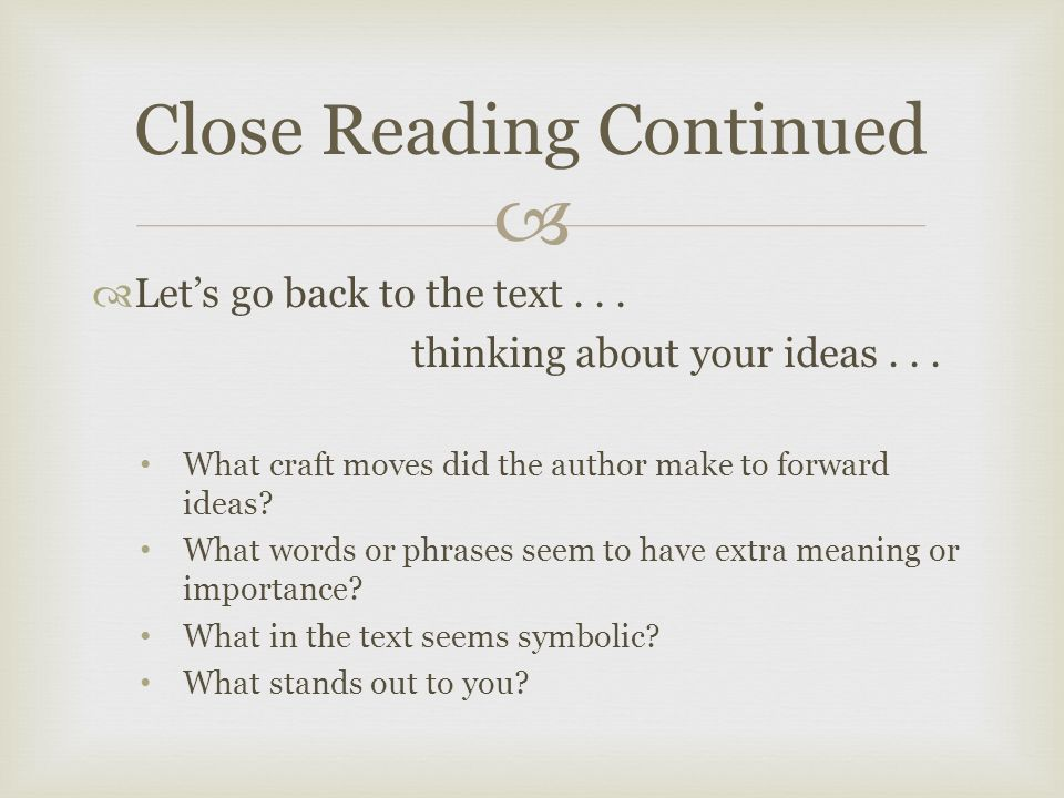   Let's go back to the text... thinking about your ideas...
