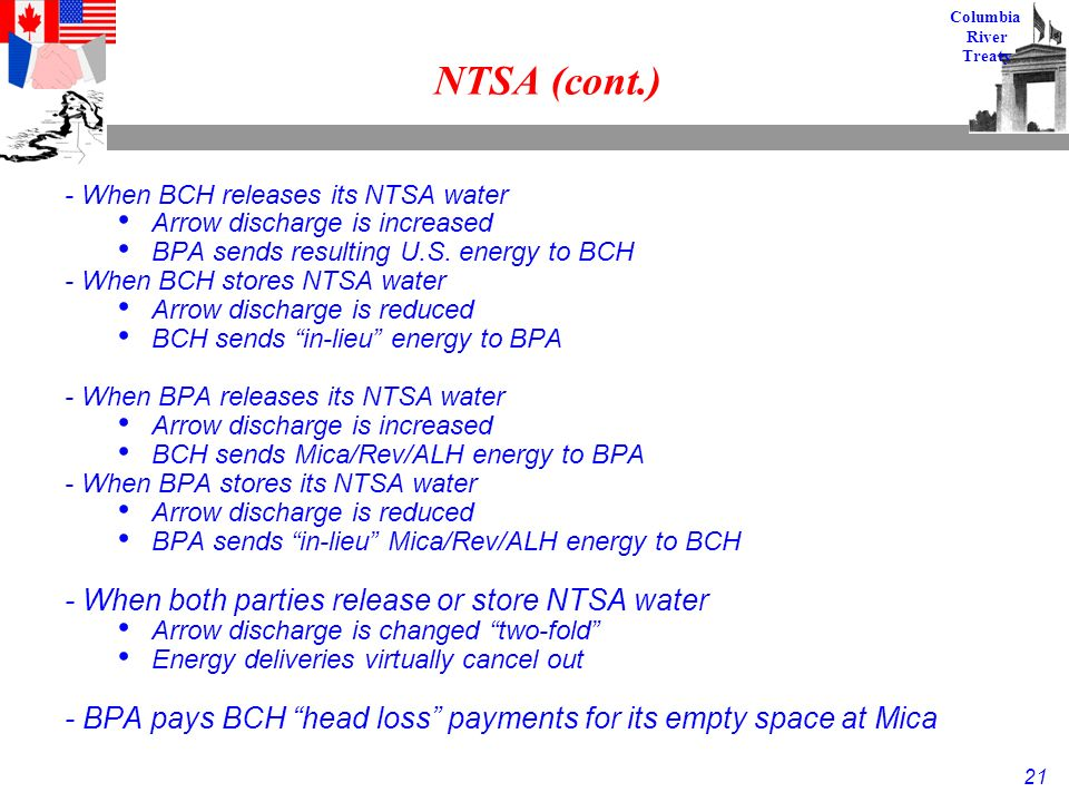 21 Columbia River Treaty NTSA (cont.) - When BCH releases its NTSA water Arrow discharge is increased BPA sends resulting U.S.
