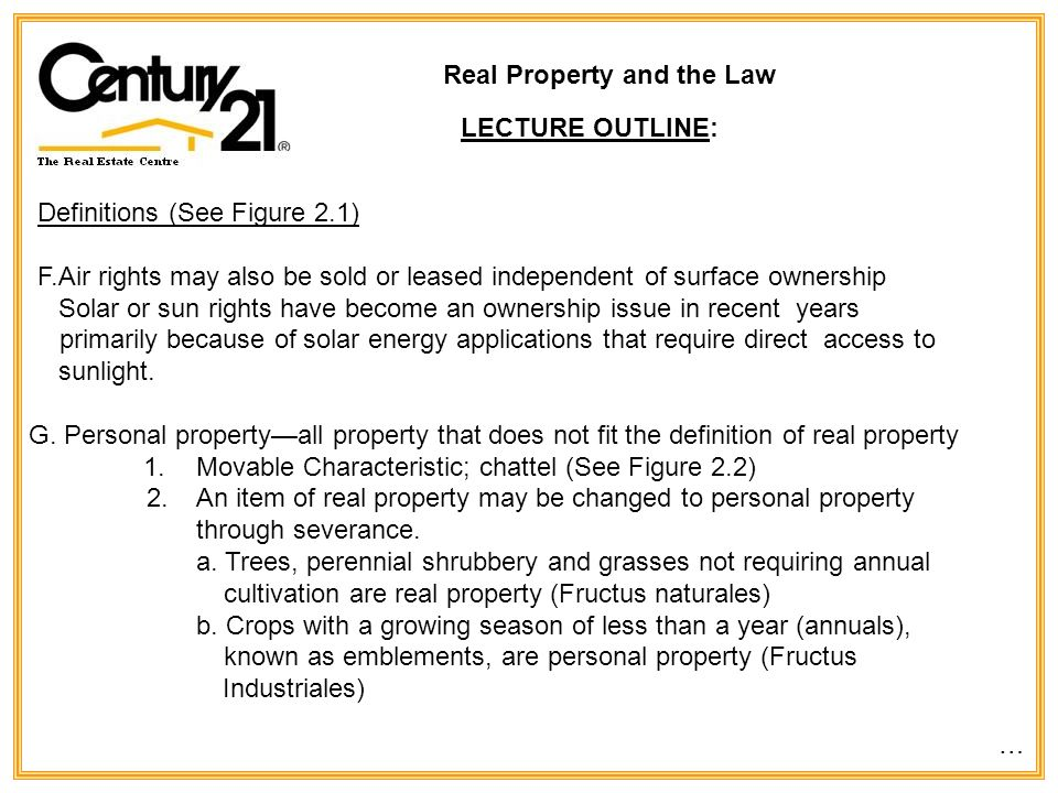 Real Property and the Law LEARNING OBJECTIVES: Define and describe