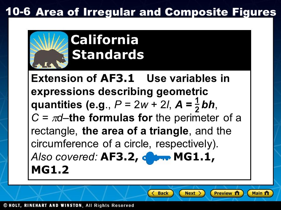 lesson 10-6 problem solving area of irregular and composite figures