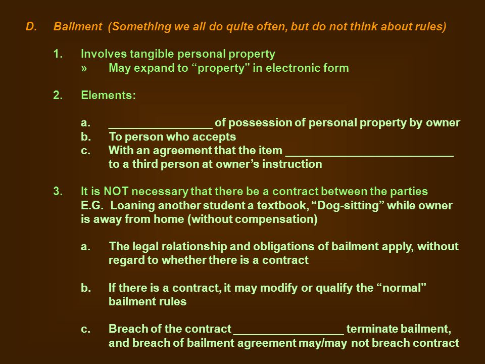 Personal Property I General Stuff A Definitions 1 Personal