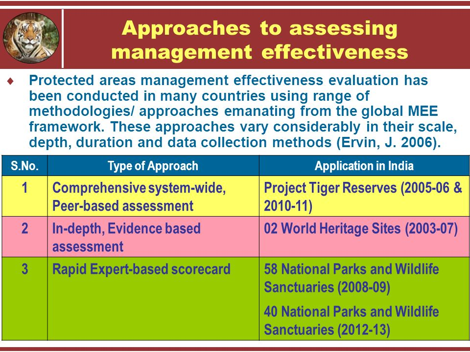Approaches to assessing management effectiveness  Protected areas management effectiveness evaluation has been conducted in many countries using range of methodologies/ approaches emanating from the global MEE framework.