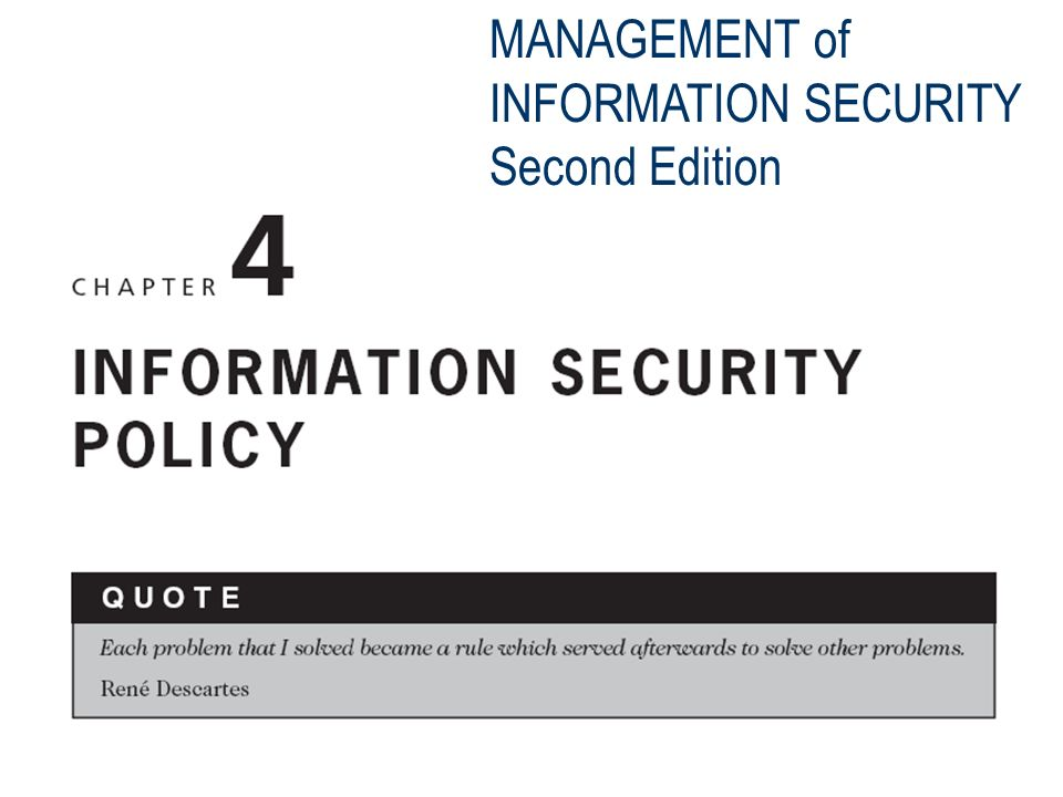 MANAGEMENT of INFORMATION SECURITY Second Edition  - ppt