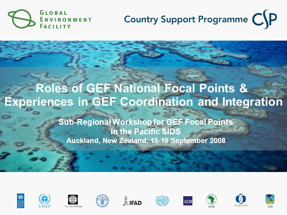 Roles of GEF National Focal Points & Experiences in GEF Coordination and Integration Sub-Regional Workshop for GEF Focal Points in the Pacific SIDS Auckland, New Zealand, September 2008