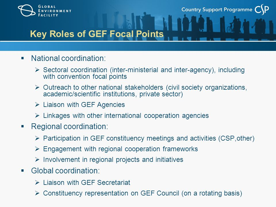 Key Roles of GEF Focal Points  National coordination:  Sectoral coordination (inter-ministerial and inter-agency), including with convention focal points  Outreach to other national stakeholders (civil society organizations, academic/scientific institutions, private sector)  Liaison with GEF Agencies  Linkages with other international cooperation agencies  Regional coordination:  Participation in GEF constituency meetings and activities (CSP,other)  Engagement with regional cooperation frameworks  Involvement in regional projects and initiatives  Global coordination:  Liaison with GEF Secretariat  Constituency representation on GEF Council (on a rotating basis)