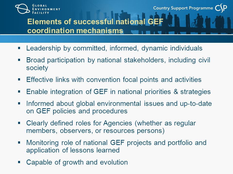 Elements of successful national GEF coordination mechanisms  Leadership by committed, informed, dynamic individuals  Broad participation by national stakeholders, including civil society  Effective links with convention focal points and activities  Enable integration of GEF in national priorities & strategies  Informed about global environmental issues and up-to-date on GEF policies and procedures  Clearly defined roles for Agencies (whether as regular members, observers, or resources persons)  Monitoring role of national GEF projects and portfolio and application of lessons learned  Capable of growth and evolution