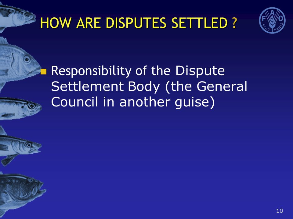 10 Responsibility of the Dispute Settlement Body (the General Council in another guise) HOW ARE DISPUTES SETTLED