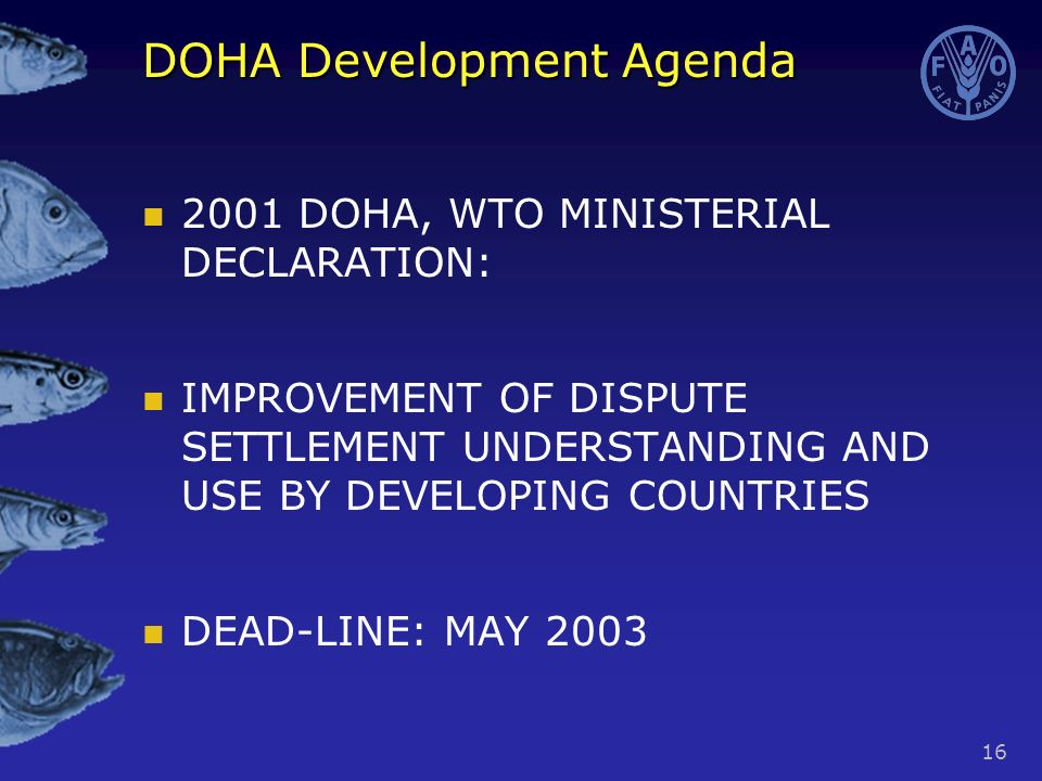 16 DOHA Development Agenda 2001 DOHA, WTO MINISTERIAL DECLARATION: IMPROVEMENT OF DISPUTE SETTLEMENT UNDERSTANDING AND USE BY DEVELOPING COUNTRIES DEAD-LINE: MAY 2003