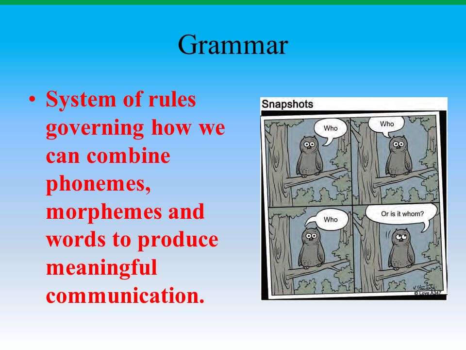 Grammar System of rules governing how we can combine phonemes, morphemes and words to produce meaningful communication.