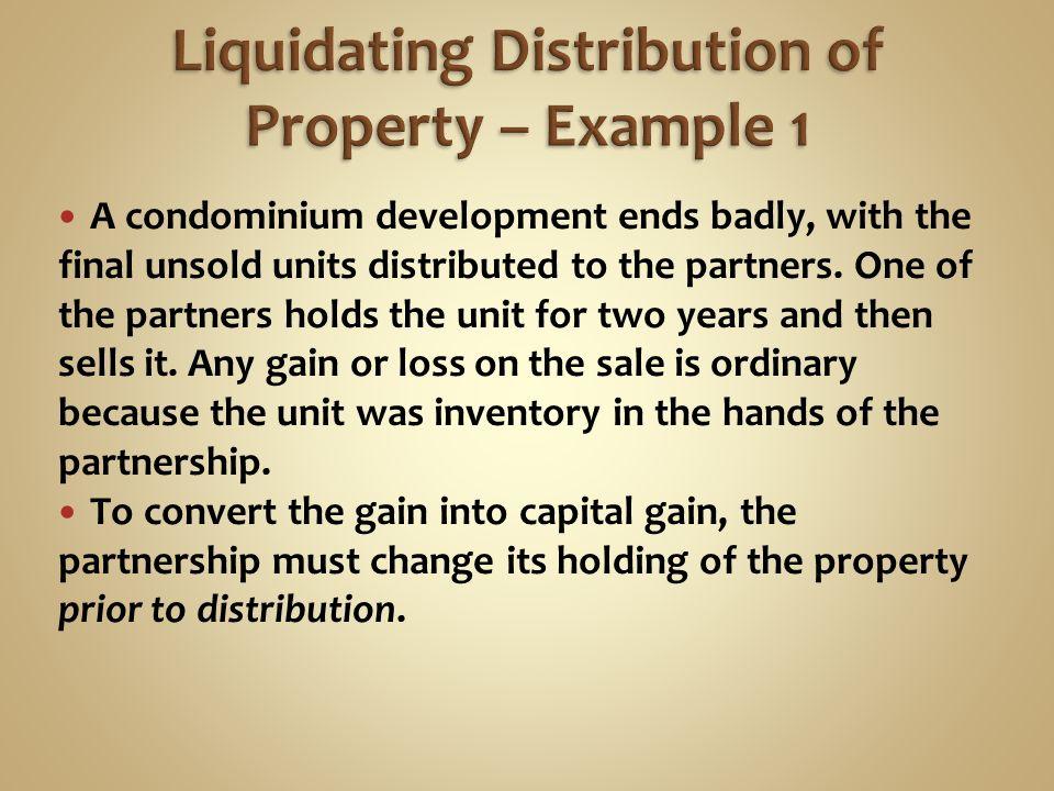 Liquidating distribution capital gain