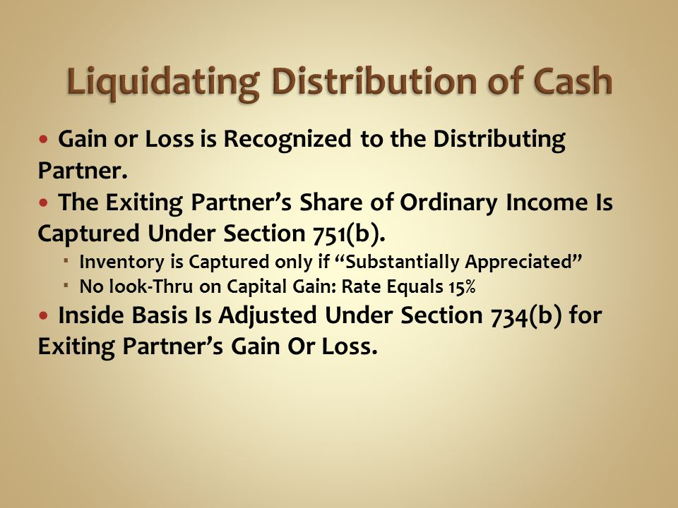 Liquidating distribution capital gain