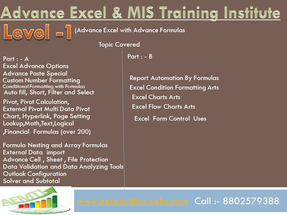 Call Advance Excel With Advance Formulas MIS Reporting With