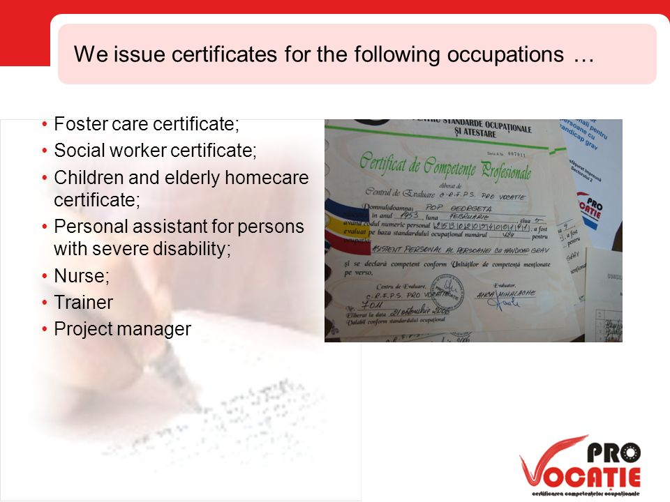 The Centre Pro Vocaie Bucharest Competencies Assessment And