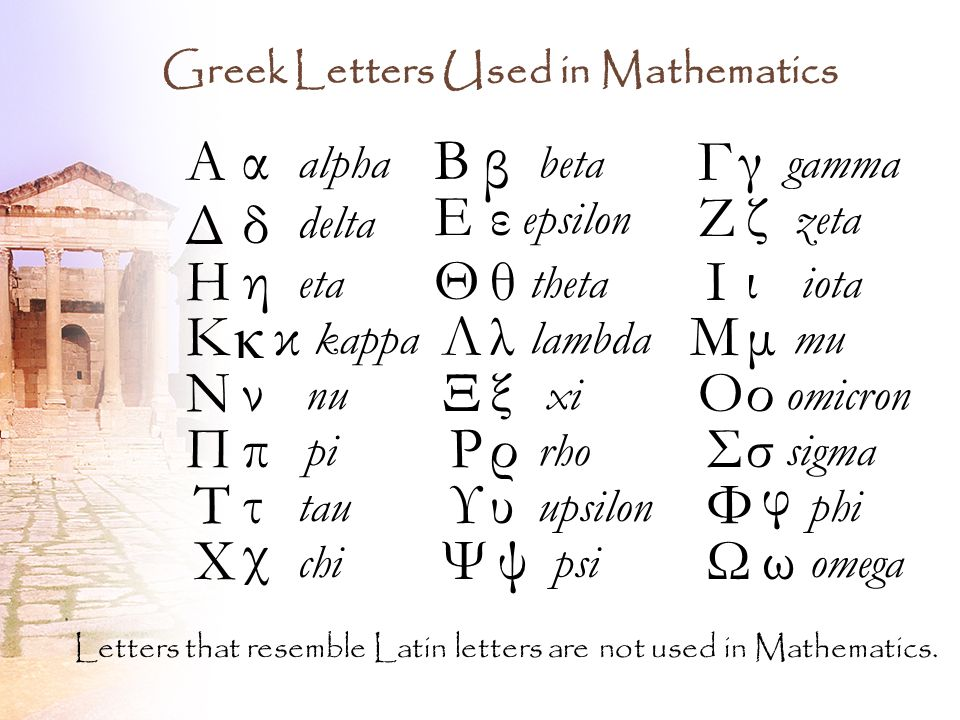 2 Greek Letters Used In Mathematics Αα Alpha Β β Beta Γγ Gamma Δδ Delta Εε Epsilon Ζζ Zeta Ηη Eta Θθ Theta Ιι Iota Κ κ Ka Λλ Lambda Μμ Mu
