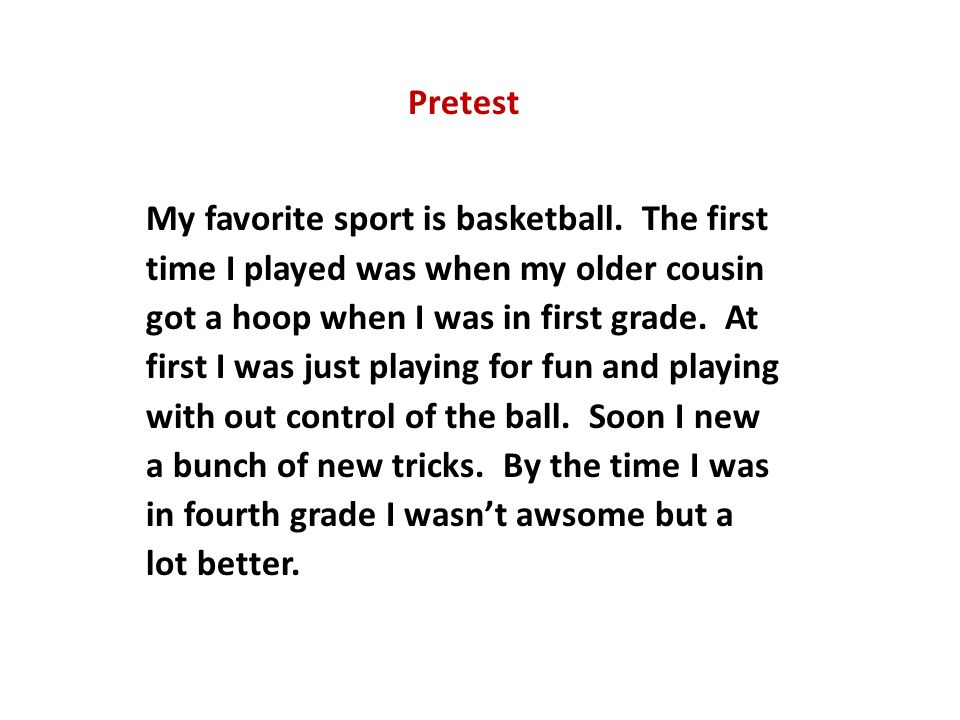 Pretest My Favorite Sport Is Basketball