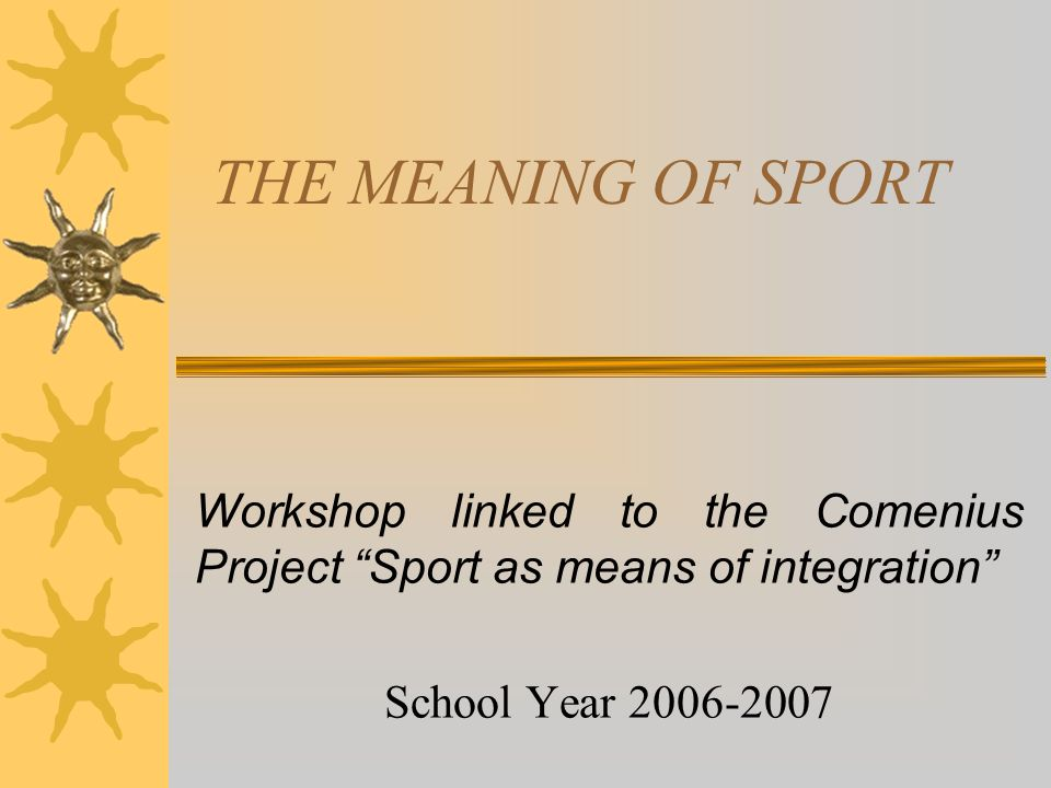 meaning of sport essay Sports and games are very important for us they keep us healthy and fit they offer us a change from the monotony of daily life it is a useful means of entertainment and physical activity sports and games help in character building they give us energy and strength sports and games are means of.