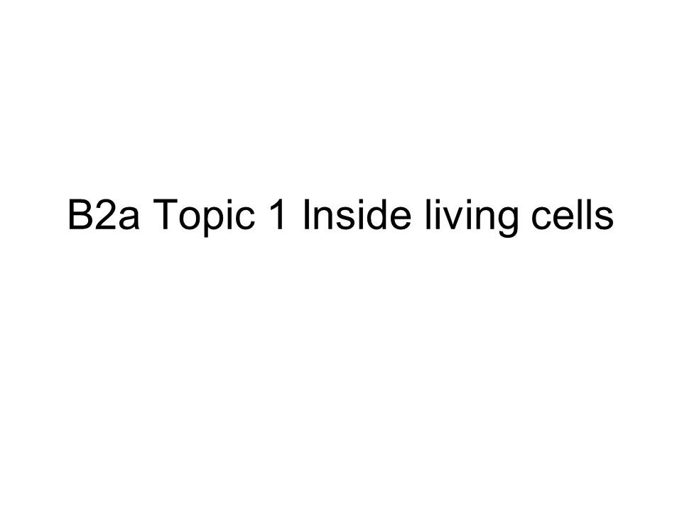 B2a Topic 1 Inside living cells