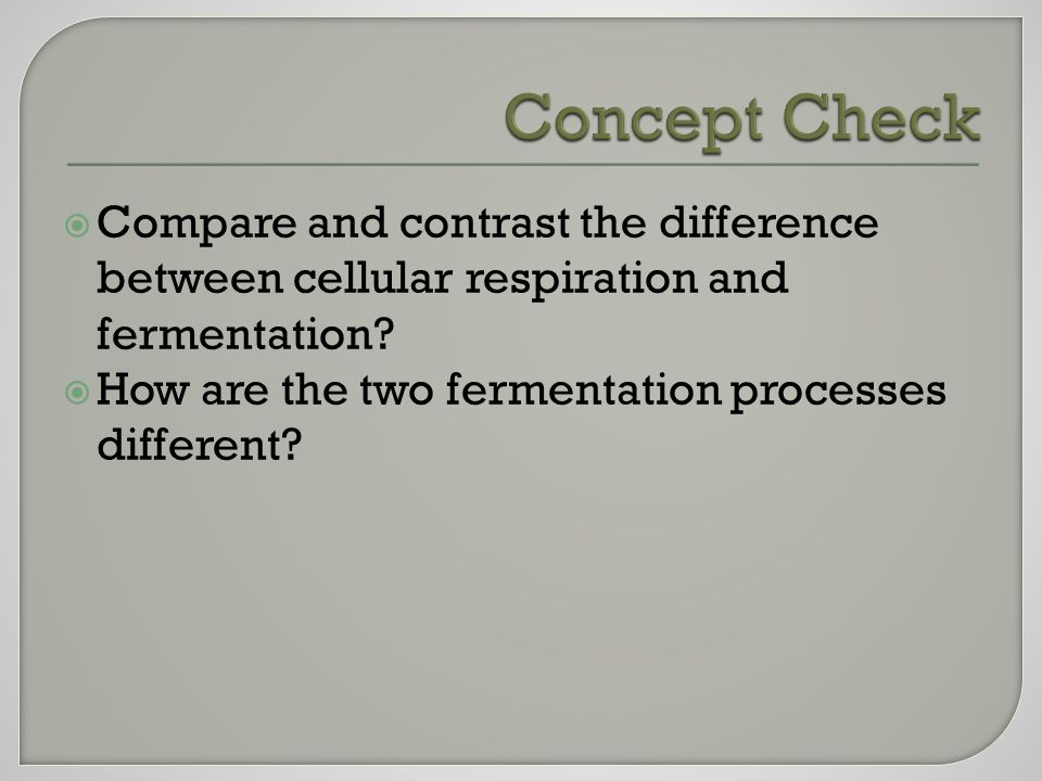  Compare and contrast the difference between cellular respiration and fermentation.