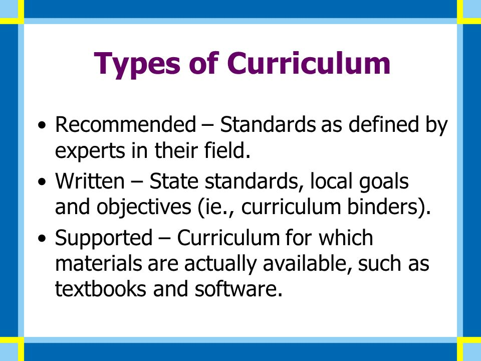 Curriculum Mapping November Types of Curriculum Recommended