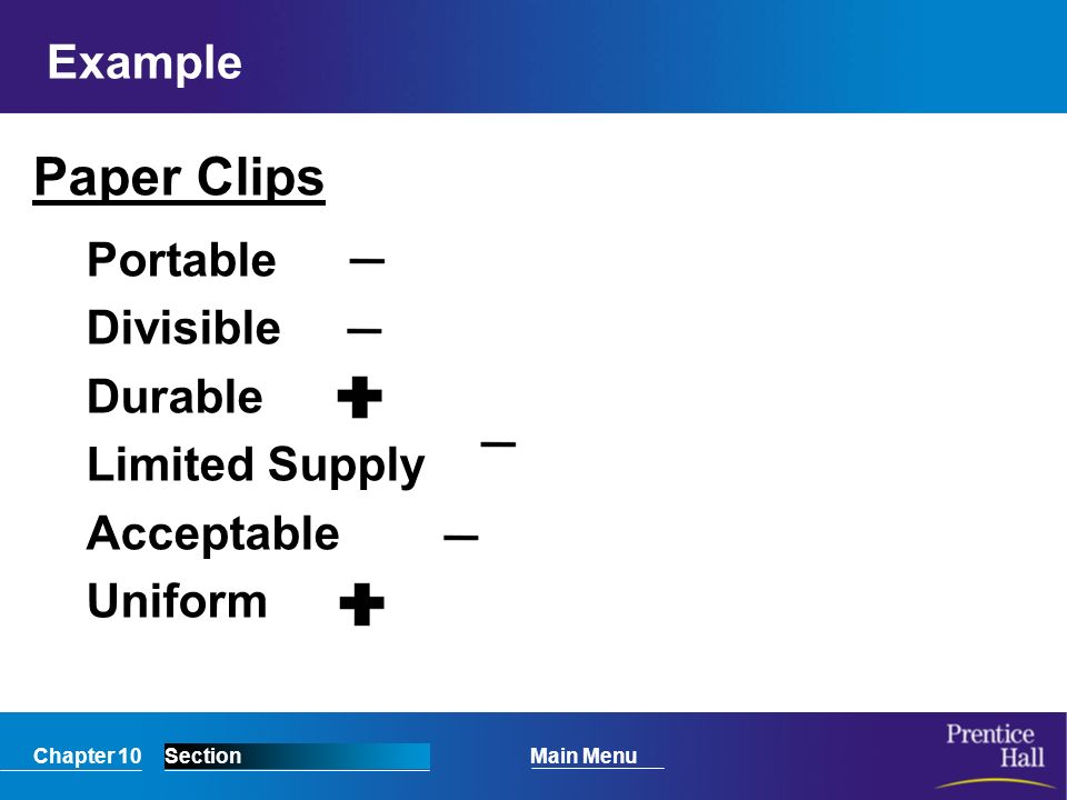 Chapter 10SectionMain Menu Example Paper Clips Portable Divisible Durable Limited Supply Acceptable Uniform