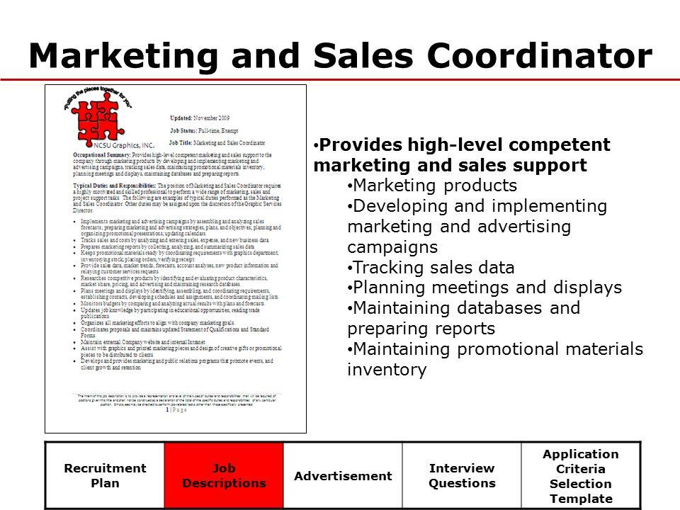 6 marketing and sales coordinator recruitment plan job descriptions advertisement interview questions