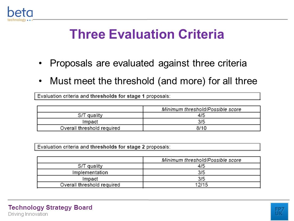 Technology Strategy Board Driving Innovation Three Evaluation Criteria Proposals are evaluated against three criteria Must meet the threshold (and more) for all three