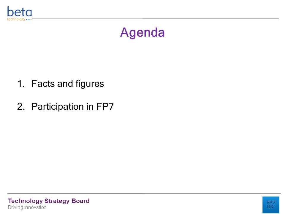 Technology Strategy Board Driving Innovation 1.Facts and figures 2.Participation in FP7 Agenda