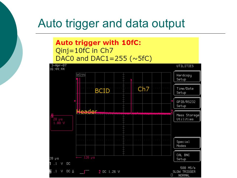 Auto trigger and data output Header BCID Ch7 Auto trigger with 10fC: Qinj=10fC in Ch7 DAC0 and DAC1=255 (~5fC)