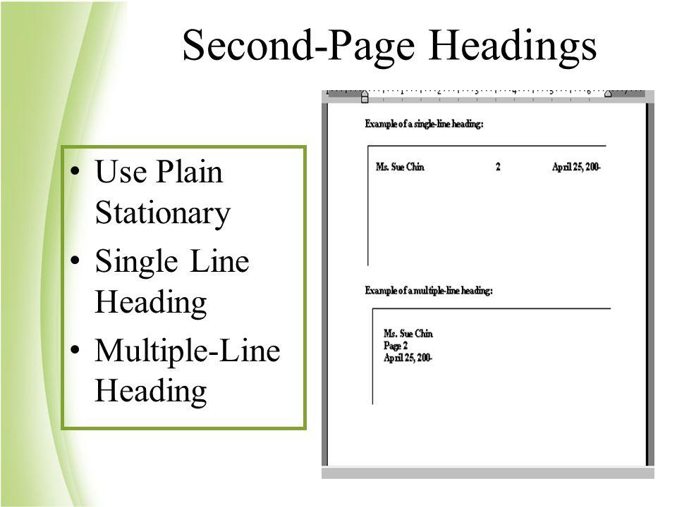 Fundamental word processing create documents using traditional input 39 second page headings use plain stationary single line heading multiple line heading altavistaventures Choice Image