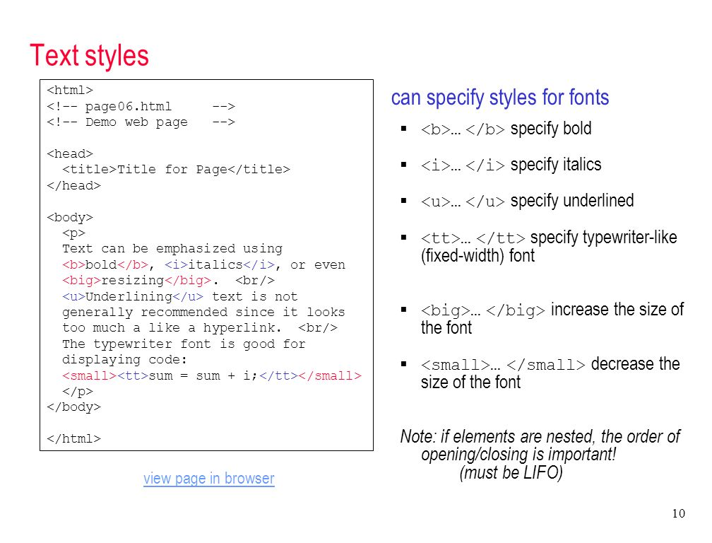 1 SEN 910 CSS/HTML Programming Basic HTML  hypertext