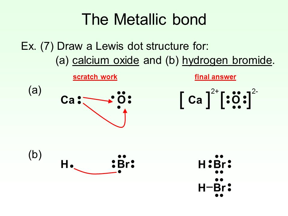 the metallic bond a metallic bond is formed when a group ofbr ex (7) draw a lewis dot structure for (a)