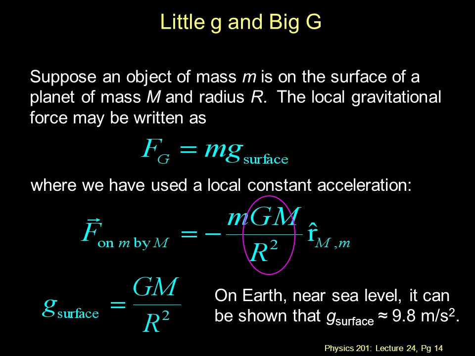 Physics 201: Lecture 24, Pg 14 Suppose an object of mass m is on the surface of a planet of mass M and radius R.