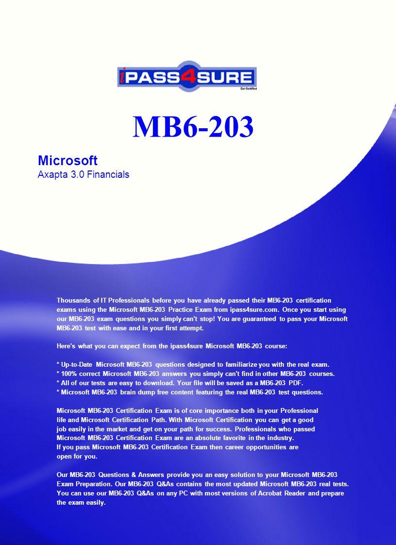 Mb6 203 Microsoft Axapta 30 Financials Thousands Of It