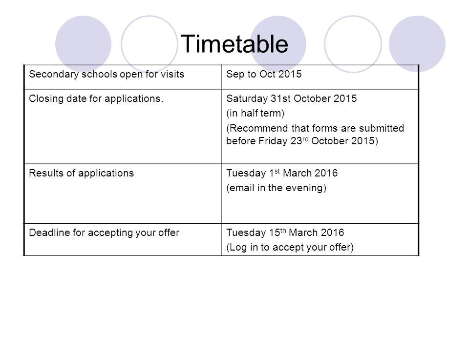 Timetable Secondary schools open for visitsSep to Oct 2015 Closing date for applications.Saturday 31st October 2015 (in half term) (Recommend that forms are submitted before Friday 23 rd October 2015) Results of applicationsTuesday 1 st March 2016 ( in the evening) Deadline for accepting your offerTuesday 15 th March 2016 (Log in to accept your offer)