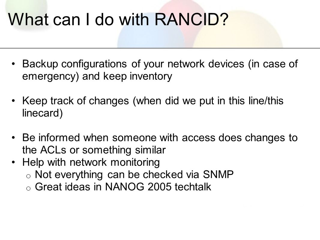 RANCID / WebSVN AfNOG 12, Dar Es Salaam, Tanzania  - ppt