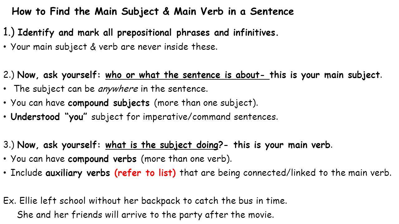 Grammar Bellringer #6 Finding Subjects & Verbs #1. - ppt ...