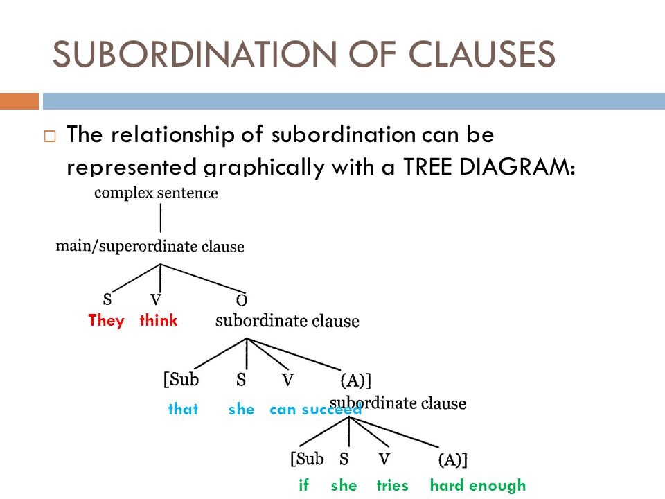 Complex sentence everything about complex sentences in a single 13 subordination of clauses the relationship of subordination can be represented graphically with a tree diagram they think that she can succeed if she ccuart Gallery