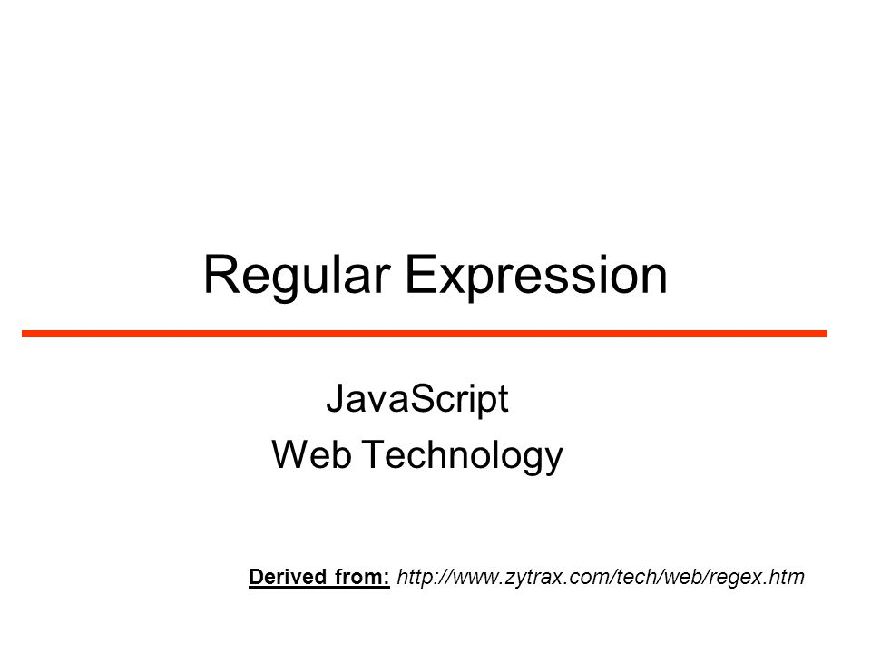 Regular Expression JavaScript Web Technology Derived from