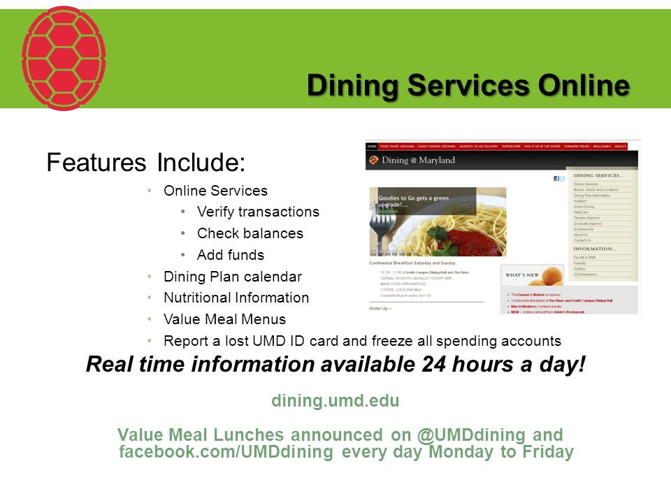Living and Eating Like A Terp! Dining Services 1109 South