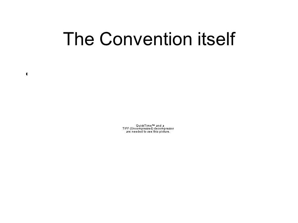 The Convention itself Convention lasted from May to September, 1787 –Hot in Philadelphia that summer.
