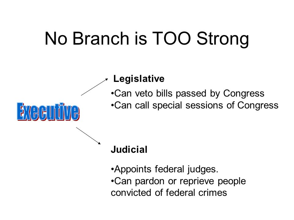 No Branch is TOO Strong Can veto bills passed by Congress Can call special sessions of Congress Appoints federal judges.
